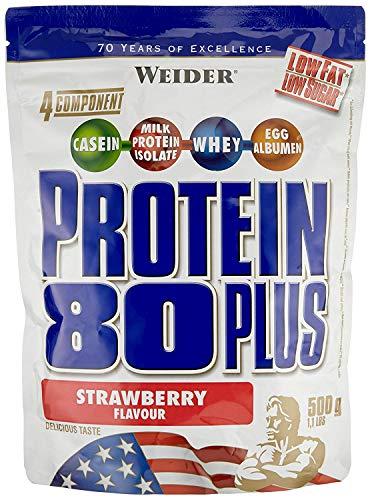 WEIDER Protein 80 Plus Eiweißpulver (2 Pack, Vanille, Low-Carb, Mehrkomponenten Casein Whey Mix für Proteinshakes, 2x500g)