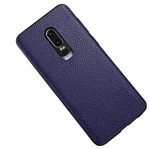 Kapa Litchi Leather Premium Protective Back Case Cover for Oneplus 6/One Plus 6 - Blue