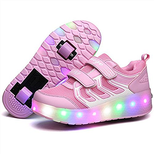 COSHOES Skateboardschuhe Kinder Schuhe mit 2 Rollen Light Rollschuhe Wheels Schuhe Sportschuhe Turnschuhe Laufschuhe Sneakers mit Rollen für Jungen Mädchen Rosa 34