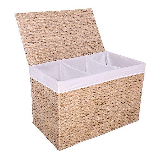 KYD 3 Fach Wäschekorb Wäschesortierer Wäschebox Wäschesammler aus Geflochtener Wasserhyazinthe 3 Fächer Wäschekörbe Wäschetonne Wäschetruhe Wäschebehälter mit Deckel für Badezimmer Natur 59,5x32,5x38 CM