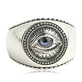 AMDXD Echtschmuck Silber 925 Ring Herren Blau Auge der Vorsehung Vintage Silber Größe 61 (19.4)