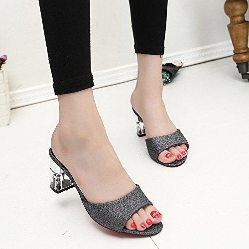 Longra Donna Spesse Tacchi alti sandali paillettes Nero