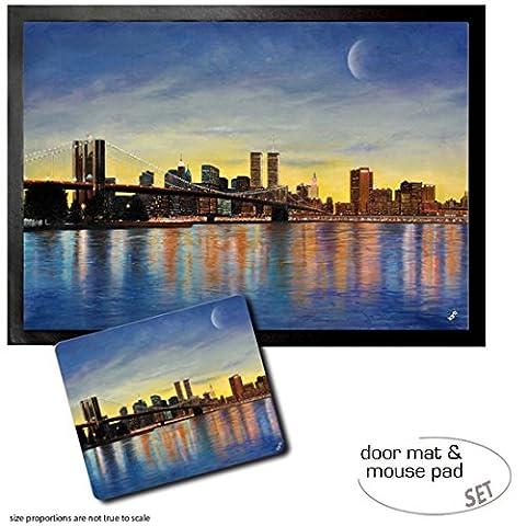 Set: 1 Fußmatte Türmatte (70x50 cm) + 1 Mauspad (23x19 cm) - New York, Brooklyn Bridge Bei Morgenröte Mit Skyline