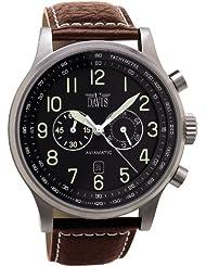 Davis-0451- Reloj Hombre Aviador 48mm - Cronógrafo Sumergible 50M - Correa de Piel Marrón con pespunte