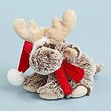 Elch 18cm Weihnachtsmütze Schal sitzt brauner Softplüsch mit weißen Spitzen