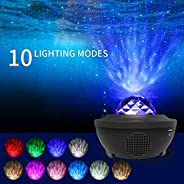 جهاز عرض ليزري ليلي ضوئي 3 في 1 من جانيد، يعرض النجوم مع سحابة السديم وامواج المحيط مع تحكم صوتي بمكبر صوت بلو