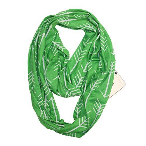MINMINA Pattern Herrenschal Europa und die Vereinigten Staaten heißer Musterschal Mehrzweck Tasche Reißverschluss Schal Reisen Schal grenzenlos Schal versteckte Reißverschlusstasche, grün, 180 * 50CM - Staat Stricken