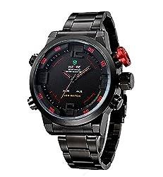 WEIDE Herren-Armbanduhr Militärstil Stahl Taucheruhr Quartz Multifunktion LED Display
