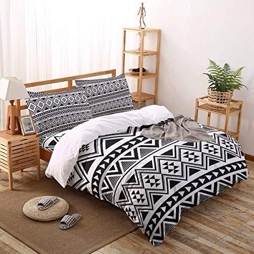 Soefipok 4er Set Bettbezüge Boho Schwarz-Weiß-Aztekenmuster Leichte, Pflegeleichte Bettwäsche für Männer, Frauen, Jungen und Mädchen, Twin-Größe (Twin Jungen Bettwäsche)