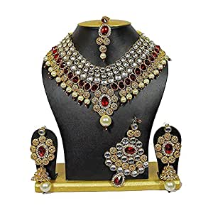 Shining Diva Non Precious Metal Party Wear Traditional Kundan Jewellery Set, Necklace Set for Women with Earrings Maang Tikka and Passa (Red)