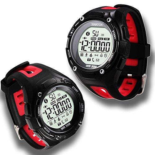 Indigi® Sport Stil Ruged Wasserdicht Bluetooth 4.0 Uhr mit Schrittzähler + SMS/Anruf-Benachrichtigung + Fernauslöser (rot)