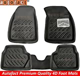 #10: Autofact Black 3D/4D Car foot Mats For Hyundai Elite I20 (Complete Set)