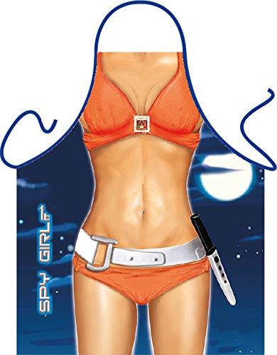Mega lustiger Scherzartikel Schürze mit Kleiner Schürze Spy Girl Geschenkartikel für jeden Anlass Karneval Geschenkidee - Spy Girl Kostüm