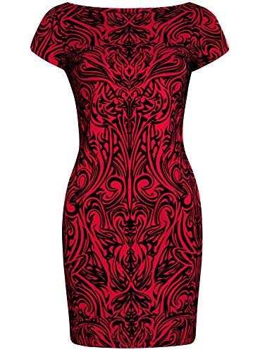 oodji Ultra Damen Jersey-Kleid mit Flock-Druck Rot (4529O)