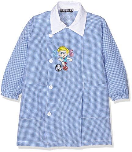 Yes!Do Kid's Grembiule Asilo Boy Calciatore, Divise Scolastiche Bambini e Ragazzi, Azzurro / Bianco, 4-6 anni (110 Centimetri)