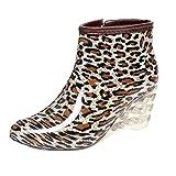 LvRao Frauen Stiefeletten Lederstiefel mit Hohen Absätzen Gummistiefeln Wasserdichte Gartenschuhe Regen Boots Knöchel Stiefel Leopard Etikett 37, EU 37