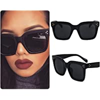 Black Square Sunglasses for Women Celeb Oversized Retro Vintage 2020 Ibiza Festival