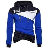 Amlaiworld Herren Freizeit bunt Flickwerk Sweatshirt Winter Herbst dick Kapuzenpullover Warm Fashion Langarmshirts Fitness Mäntel Mode Sport Pulli (S, Blau)