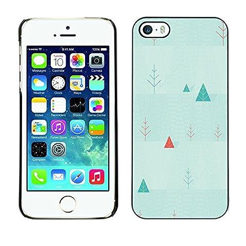 Qstar Kunst & Design Hartplastik Handy-Schutzhülle Schale Hülle Case Cover für Apple iPhone 5 / iPhone 5S ( Triangle Picea Christmas Tree Wallpaper