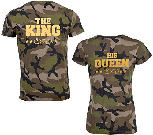 SE-creation KING QUEEN Partner Look Camouflage T-Shirt mit Wunschzahl | als Paar für Damen und Herren | Jungen und Mädchen | Army Tarn-Muster Design | für Pärchen als Hochzeit - Geburtstag -Geschenk