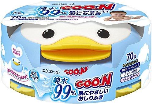 GOO.N Baby Feuchttücher Pinguin-Box 70 Tücher Premium Qualität Made in Japan - Perfektes Geschenk für Mama und Baby!