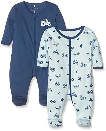 NAME IT Baby-Jungen Schlafstrampler Nbmnightsuit 2P Zip W/F Ensign Blue Noos, 2er Pack, Mehrfarbig (Ensign Blue), 56