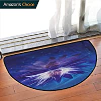DESPKONMATS Lotus Semi-circular Carpet Mat Indoor, Outer Space among Stars Theme Sofa Plush Area Rug, Phthalate Free, Rugs for Office Stand Up Desk, Half Circle-