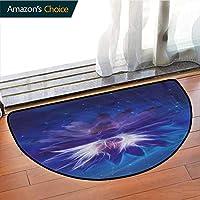 DESPKONMATS Lotus Semi-circular Carpet Mat Indoor, Outer Space among Stars Theme Sofa Plush Area Rug, Phthalate Free, Rugs for Office Stand Up Desk, Half Circle-
