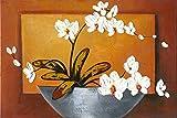 wieco Kunst–Orchidee 100% handbemalt Floral Öl Gemälde Reproduktion Modern Abstrakt Blumen gespannt und gerahmt Kunstwerk auf Leinwand Art Wand fertig zum Aufhängen für Home Dekoration Wall Decor 36von 61cm