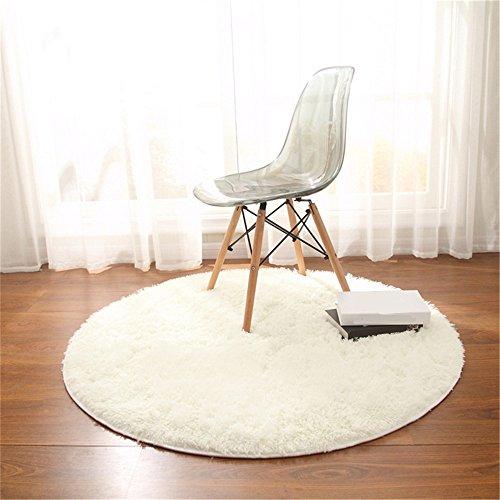 Teppich, CAMAL Runde Seide Wolle Material Yoga Teppich für Wohnzimmer Schlafzimmer und Bad (Milch Weiß, 160cm)
