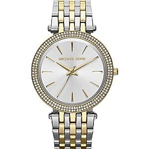 Michael Kors Damen-Armbanduhr Rund Analog Quarz (One Size, Silber)