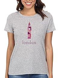 Big Ben London Camiseta Para Mujer Gris Todos Los Tamaños | Women's T-Shirt Grey