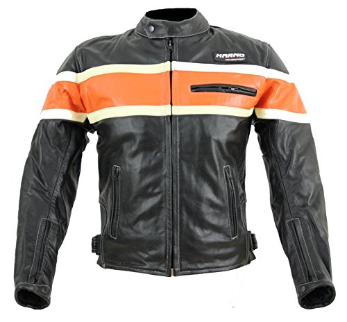 kc011Giubbotto Moto Chopper karno-motorsport Pelle Nero/Arancione USA Biker stile