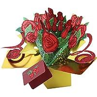 3D Rose Flower Popup Card Hueco Bouquet Tarjeta de felicitación DIY para el Día de San Valentín Día de la Madre Birthday Festivals Gifts