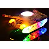 Rvold Battery Operated Military Tank Toy With Beautiful Attractive Flashing Lights And Music Goes Around And Changes Directions On Contact