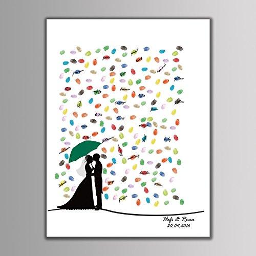 Qiulv Liebhaber Fingerabdruck Unterschrift Segeltuch Gästebuch DIY Herzförmig Gemälde Anmelden Unter Umbrella Braut Bräutigam Daumenabdruck Personalisiert Angepasst Jahrestag Hochzeit,40 * 60Cm