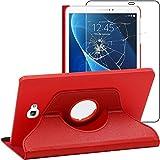 ebestStar - Compatible Funda Samsung Galaxy Tab A6 A 10.1 (2018, 2016) T580 T585 Carcasa Cuero PU, Giratoria 360 Grados, Función Soporte, Rojo + Cristal Templado [Aparato: 254.2x155.3x8.2mm 10.1']