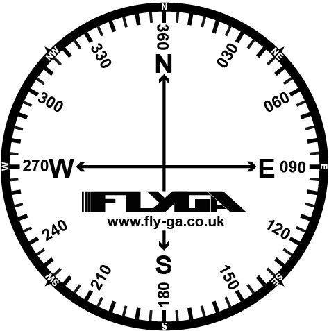 Kompass Rose Flight Karte Aufkleber (12Stück)–Für PPL (A), lapl, PPL (H) & CPL Aviation Piloten