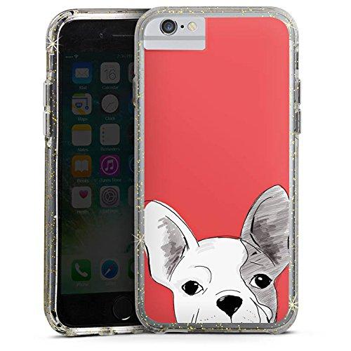 Apple iPhone 6s Plus Bumper Hülle Bumper Case Glitzer Hülle Hund Dog Chien Bumper Case Glitzer gold