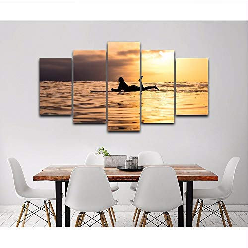 QThxqa Gedruckte Fotowandkunstdekoration 5 Stück Frau bei Sonnenuntergang Silhouette auf Palette Modular Malerei Plakatrahmen