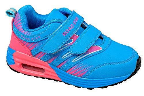 GIBRA® Enfants Chaussures de sport, avec fermeture velcro, bleu/rose, Taille 25–35 Bleu - Blau/Pink