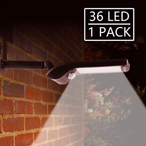 36 LED Foco Solar Exterior, Solar Security Lights Sensor de movimiento al...
