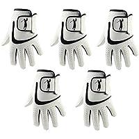 5 guantes de golf de piel de cabreta con licra negra para hombre, hombre, color negro, tamaño Medium Large