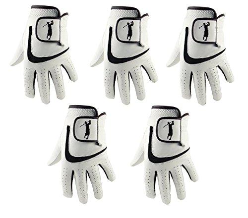 5 Herren-Golfhandschuhe aus Cabretta-Leder mit schwarzem Lycra., Herren, Schwarz , S 5 Herren-leder