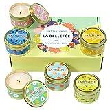 LA BELLEFÉE Coffret Bougie Parfumée de Cire de Soja 6 Mini-Pots Bougie Fruitée Bio pour l'Aromathérapie, Mariage, Anniversaire, Bain, Yoga, 90h...
