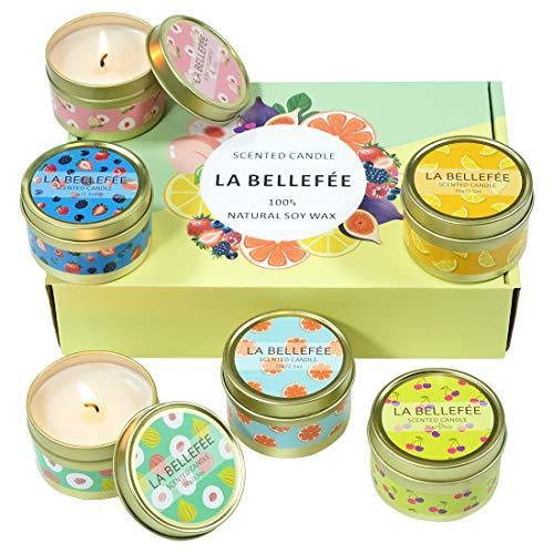 LA BELLEFÉE Duftkerze Fruchtiger Duft Kerze Geschenkset natürliches Sojawachs Aromatherapie für Weihnachten, Yoga, Hochzeiten, Partys, Heimtextilien (6 x 95g)