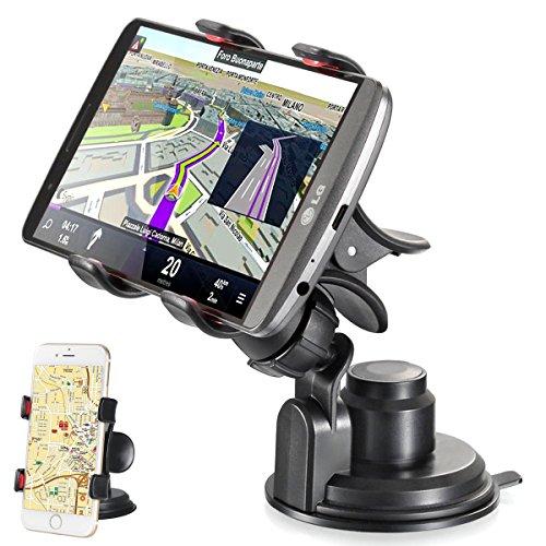 Techere easyclaw plus - supporto universale per auto con ventosa - porta telefono / smartphone / cellulare per iphone 6 plus 6 5 5s 5c 4s, samsung galaxy s6 s5 s4 s3 s2, nexus, lumia, sony xperia, lg, htc, navigatore gps ed altri dispositivi di larghezza fino a 9 cm - regolabile con rotazione 360° - colore nero