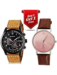 Talgo Curren Collection Festive Season Special Black Round Dial Brown Leather Strap Party Wedding | Casual Watch...