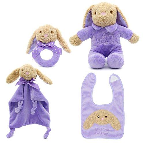 Luxury-uk Baby-ruhige Abwischen Baumwollhandtuch weiches Handtuch Baby Tröster Spielzeug Plüsch niedlich Hip Hop Bär Spielzeug 4 Stück / Set_Purple (4 Stück Tröster)