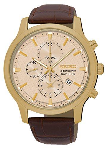 Seiko Herren-Armbanduhr Chronograph Quarz Leder SNDG70P1